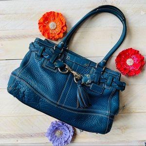 Coach leather large blue satchel